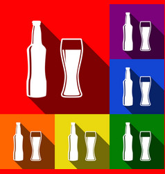 Beer bottle sign set of icons with flat vector