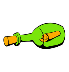bottle with letter icon icon cartoon vector image