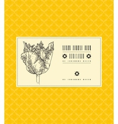 card with tulip on ornamental pattern vector image