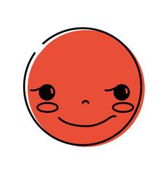 Color kawaii head with cute rogue face vector