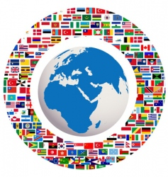 earth globe with all flags vector image vector image