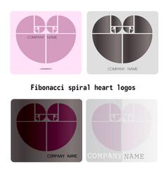 Fibonacci heart logos vector