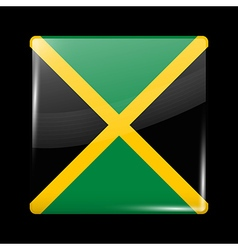 Flag of jamaica glossy icon square shape vector