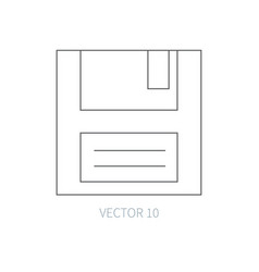 Flat line computer part icon - floppy disk vector