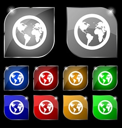 Globe icon sign set of ten colorful buttons with vector