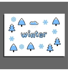 Greeting card with winter vector