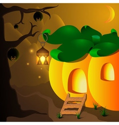 Halloween pumpkin house with lamp and bats on the vector