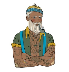 Hipster sailor man vector