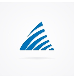 Logo combination of a triangle and waves vector image