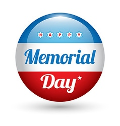 Memorial day button badge with usa flag stars vector