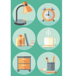 Office objects and elements of workplace icon set vector