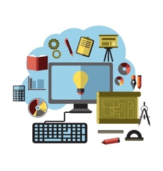 Online ideas inspiration and research flat concept vector image