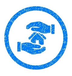 Realty insurance hands rounded icon rubber stamp vector