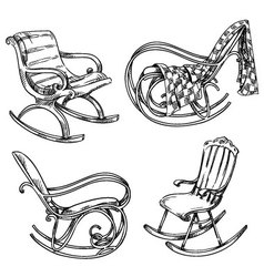 Rocking chairs vector