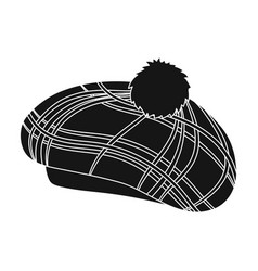 Scottish traditional cap icon in black style vector