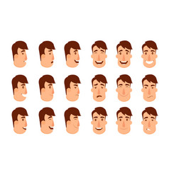 set of avatars male characters people faces man vector image