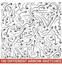 Set of hand drawn arrow sketches Black graphic vector image vector image