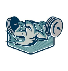 Shark weightlifter lifting weights mascot vector
