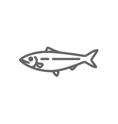 Simple fish and sturgeon line icon symbol and vector