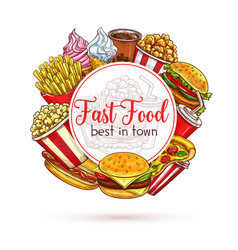 Sketch poster of fast food meals for menu vector