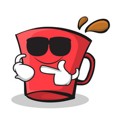 Super cool red glass character cartoon vector