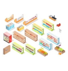 Supermarket departments interior set shop icons vector
