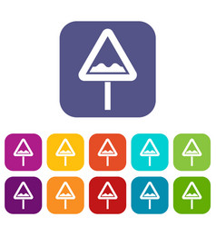 Uneven triangular road sign icons set vector