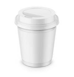white paper coffee cup with lid template vector image vector image