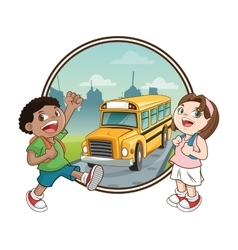 Bus kids back to school design vector