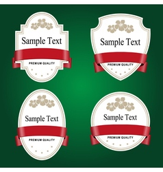 Set of white labels with red tape vector