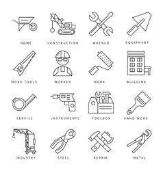 Monochrome Construction Icons Set vector image