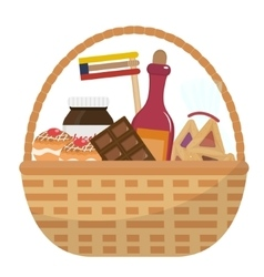 Mishloach manot basket with food treats purim vector