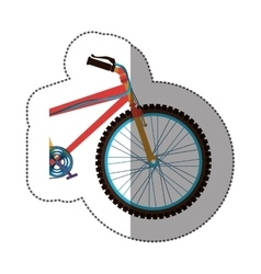 Sticker colorful medium part bicycle with pedals vector