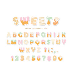 Sweets bakery font design funny latin paper vector