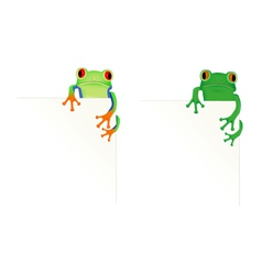 2 frogs in corner of page vector image vector image