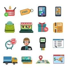 Online icons flat vector