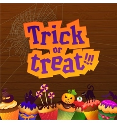Happy halloween trick or treat greeting card vector
