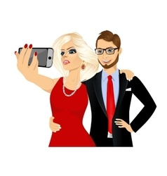 happy couple taking a selfie using her smartphone vector image