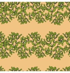 Seamless pattern with horizontal mistletoe twigs vector