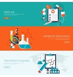 Flat medical backgrounds set vector image