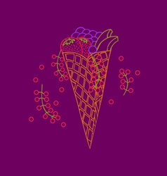 Doodle wafer cone with fruits and berry vector