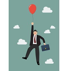 Businessman flying with red balloon vector