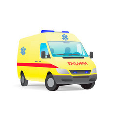Yellow ambulance van with caduceus sign vector