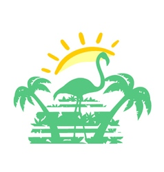 Tropical sunset symbol vector