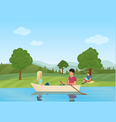 A couple swimming on boat in the pond in the park vector