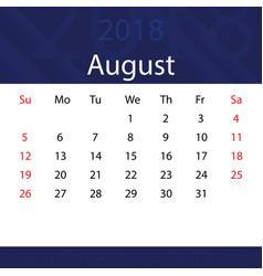 August 2018 calendar popular blue premium for vector
