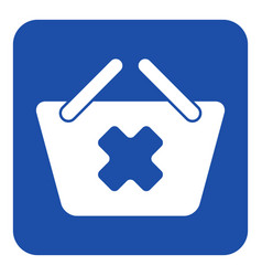 Blue white sign - shopping basket cancel icon vector