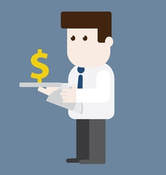 Character businessman served money vector image vector image