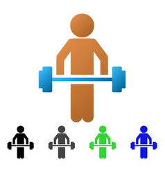 Child power lifting flat gradient icon vector