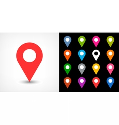 Color map pin sign location icon with drop shadow vector